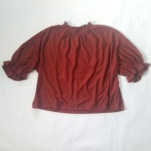 NWT Madewell Clipdot ruffle cinched texture blouse